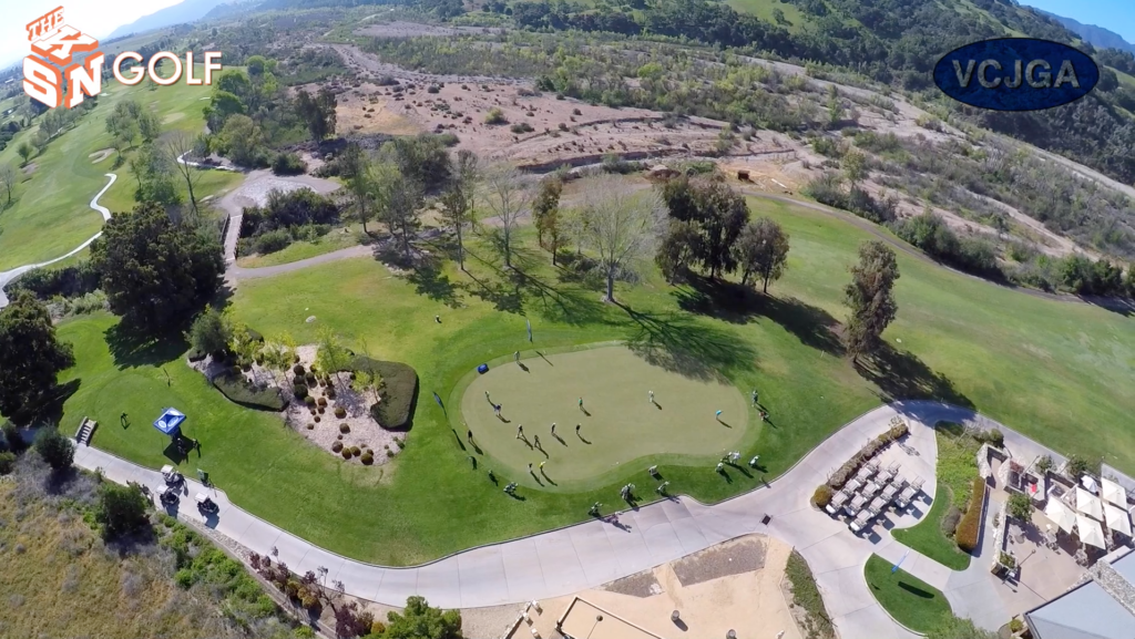 Ariel view of the putting tee at the River Course Alisal